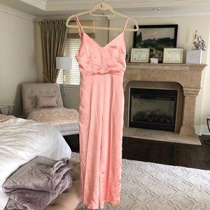 Lulus // hot pink silk jumpsuit